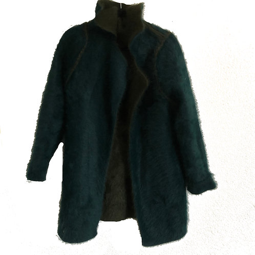 Vintage Reversible Mohair Hunter Green and Teal Fur Jacket