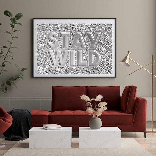 Stay Wild Faux Embossed Python Snake Skin Metallic Silver High Res Digital Art
