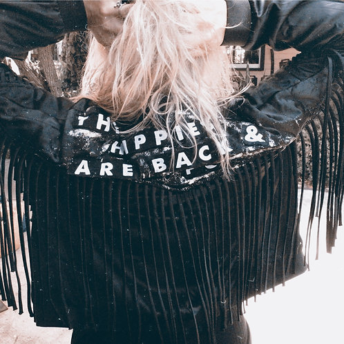 Honorable Citizens custom made black fringe HIPPIES statement jacket