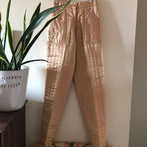 RARE VINTAGE 1970s high waisted gold satin pants