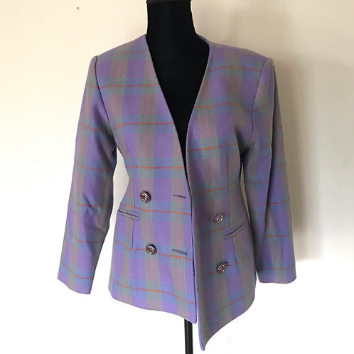 European Sin May Purple Tartan Wool Blazer Jacket