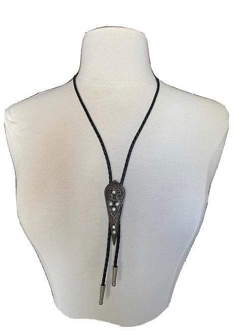 Vintage Black Leather Cord Silver Teardrop Crystal Studded Bolo Tie Necklace