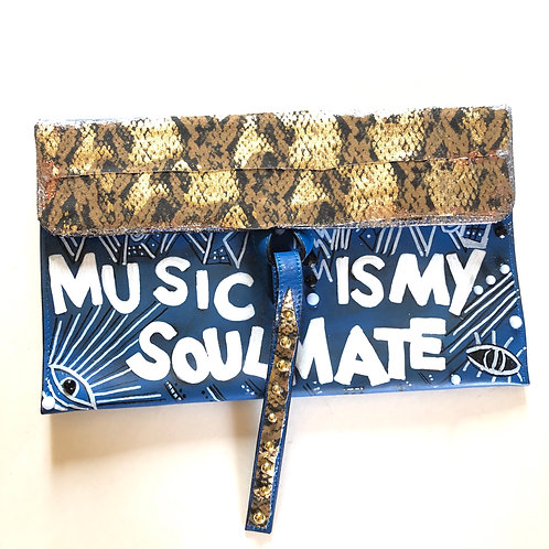 "Handpainted Blue Graffiti Clutch Bag ""Music is My Soulmate"""