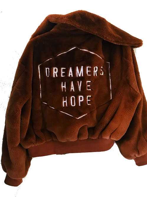Limited Edition Dreamers Have Hope Faux Fur Bomber Jacket