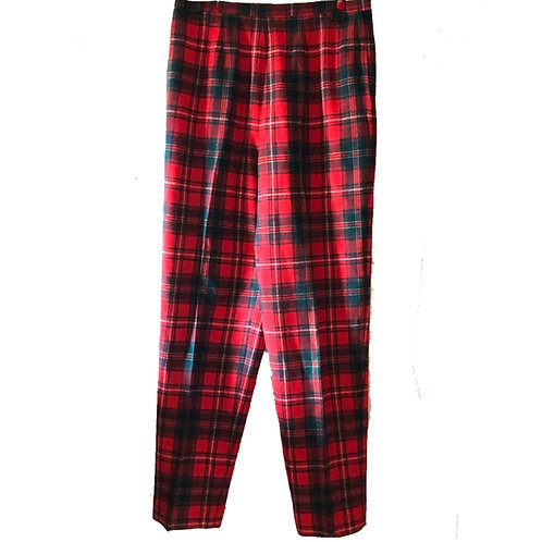 Vintage Pendleton Red Green Tartan Wool High Waisted Tapered Trouser Plaid Pants
