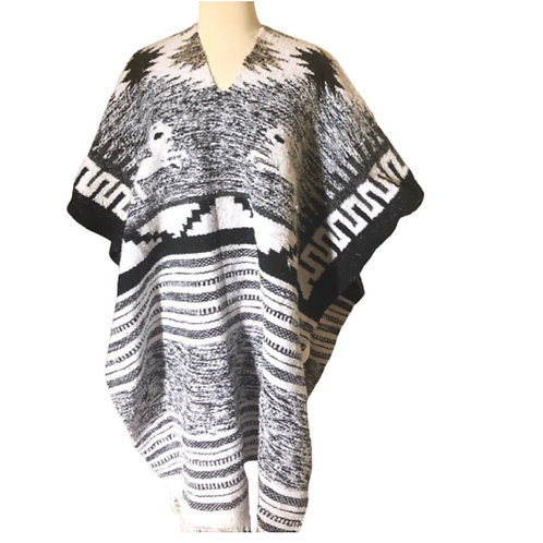 Vtg Alpaca Mexican Woven Fringe Blanket Rug Serape Poncho Unisex