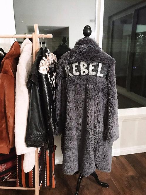 REBEL Shag Faux Fur Grey Glitter Festival Jacket