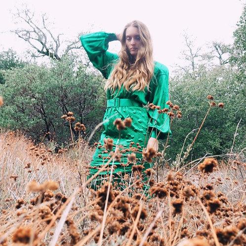 Vintage 100% Pure Silk Green Long Sleeved Billow Belted Dress