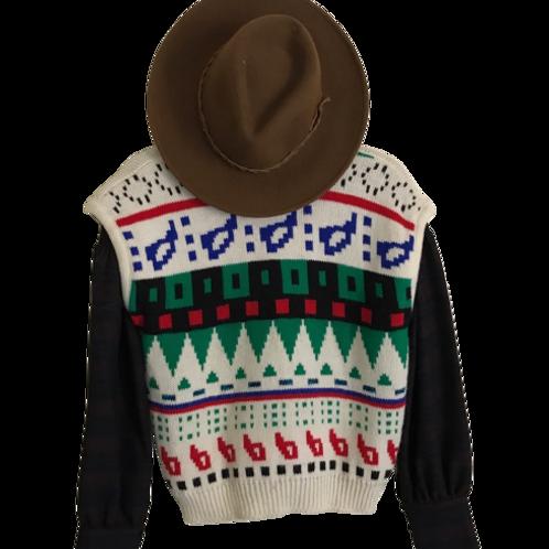 Vintage 1970s Pandora Patterned Knit Wool Sweater Vest