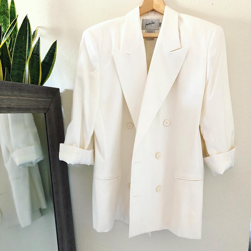 Vintage Boyfriend Style White Double Breasted Blazer Jacket