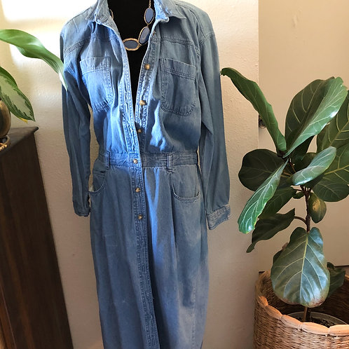 RARE Vintage Denim Button Down Long Sleeved Dress Coveralls Ankle length