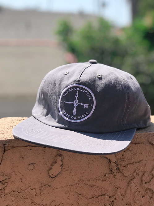 Grey Unstructured Triple Washed Cotton Snapback Dad Hat