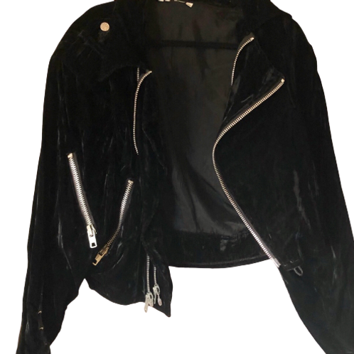 Vintage 1990s Multi Zipper Corset Closure Crushed Black Velvet Moto Jacket