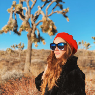 Joshua Tree Fashion Maven in the red beret