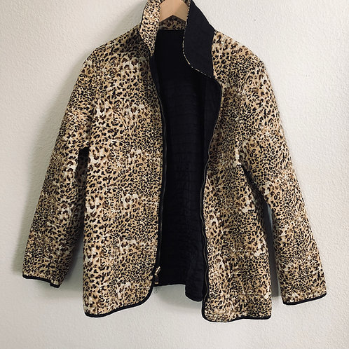 Vintage Reversible Quilted Cheetah Print Black Jacket