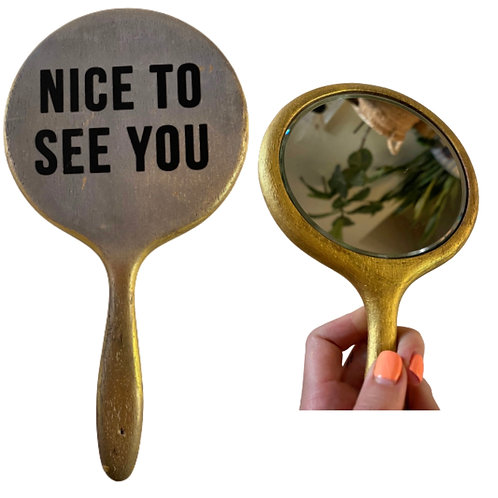 """Vintage 11"""" Upcycled Wooden Mid Century Hand Mirror"""