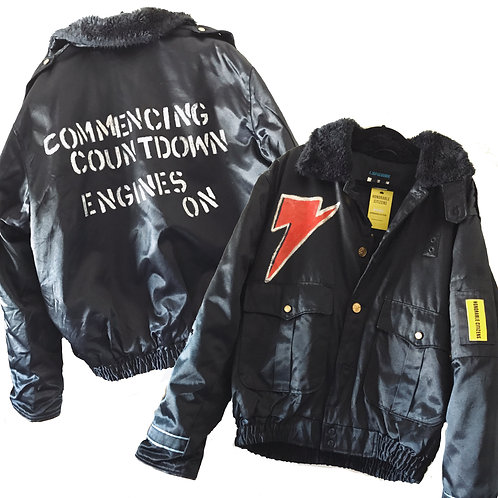 Men's Handpainted Bowie Quote Navy Vintage Cop Festival Jacket Sheepskin