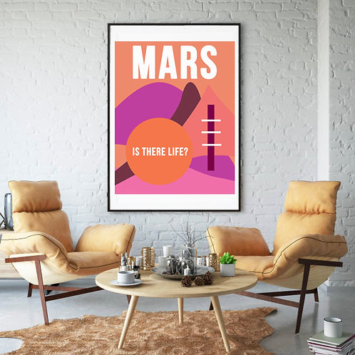 Life on Mars Retro Hot Pink Poster Abstract Wall Art High Res Digital Download