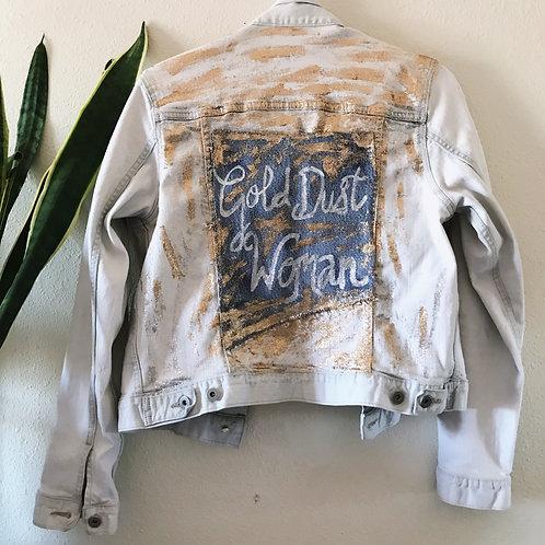 Handpainted Gold Dust Woman Metallic Statement Festival denim Jacket