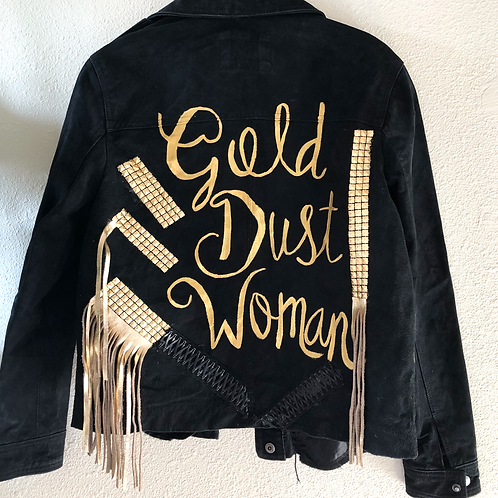Gold Dust Woman Stevie Nicks Inspired Custom Vintage Leather Jacket