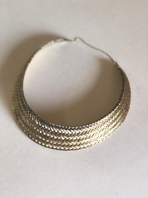 Vintage 1970s Woven Braided Gold thread choker collar necklace