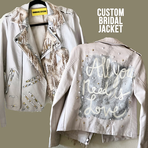 All You Need is Love Hand-painted Bridal Faux LeatherJacket