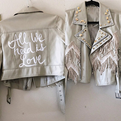 Handpainted All We Need is Love Statement Bridal Festival Boho Biker Jacket