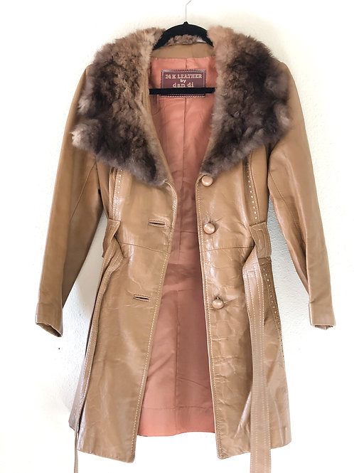 """Vintage real Brown Leather and fur collar """"Penny Lane""""  1970s Trench Coat"""