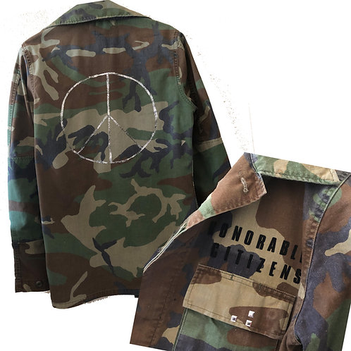 Handpainted Vintage Military Camo Jacket Metallic Silver Peace Sign