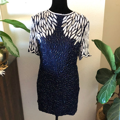 Vintage Mid Century 1950s Sequin & beaded Shift Dress Navy and Silver Metallic W