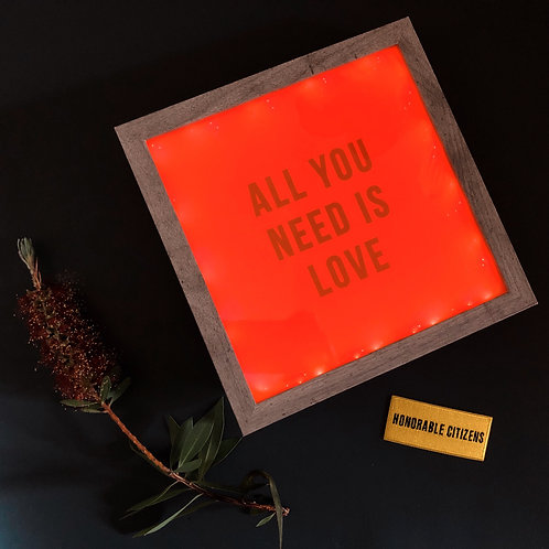 All You Need is Love 9x9 Pink Neon Sign Lightbox