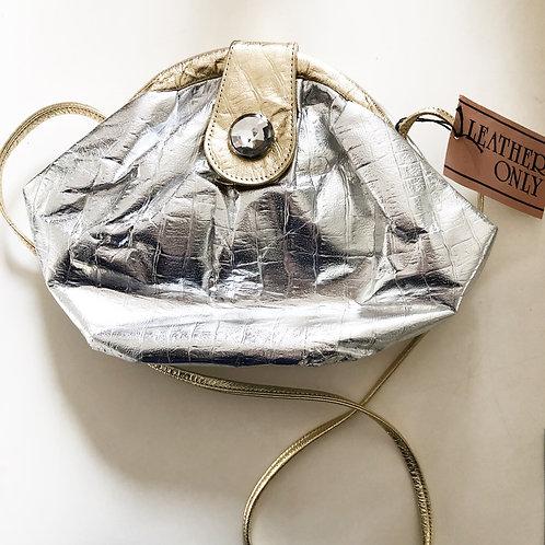Genuine Leather StyleCraft Metallic Silver and Gold Crossbody Bag
