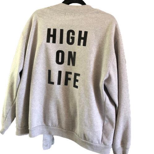 Vintage Grey Cotton Snap Sweatshirt Jacket Upcycled With Custom High On Life On