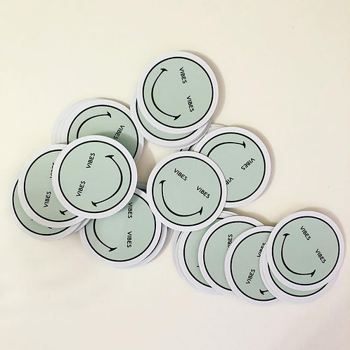 "Vibes Smiley Face UV Vinyl Sticker 2.5"""