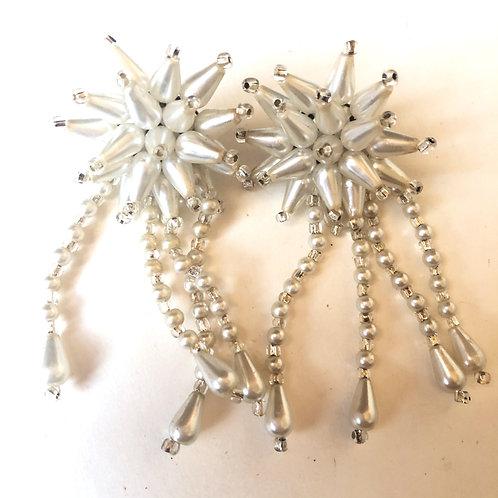 Vintage Mid Century Pierced cultured Salt Water Pearl Dangle Earrings