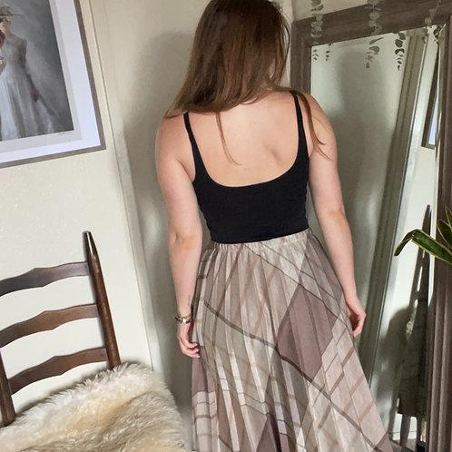 Vintage Blair Brown and Tan Pleated A-Line Midi Skirt