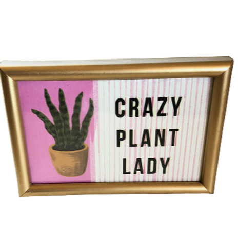 """4x6"""" Crazy Plant Lady Lithograph Gold Framed art"""