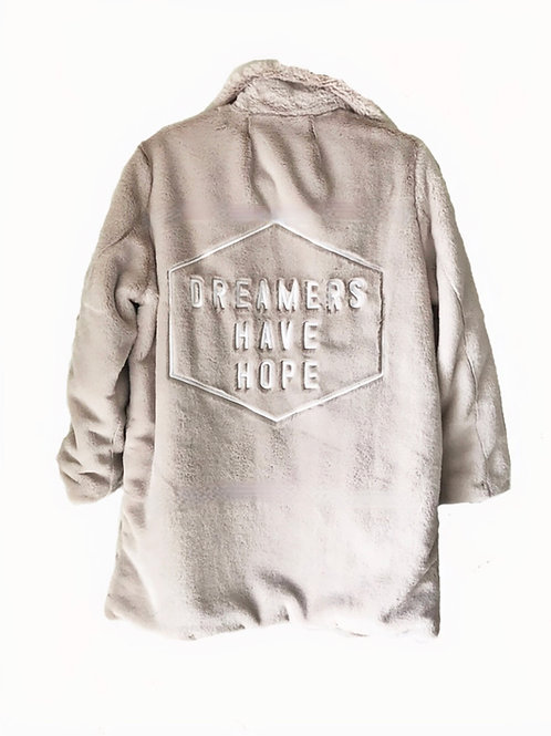 Limited Edition Dreamers Have Hope Midlength Faux Fur Coat