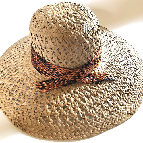 Wide Brim Woven Straw Hat with Faux Snake Skin Banding