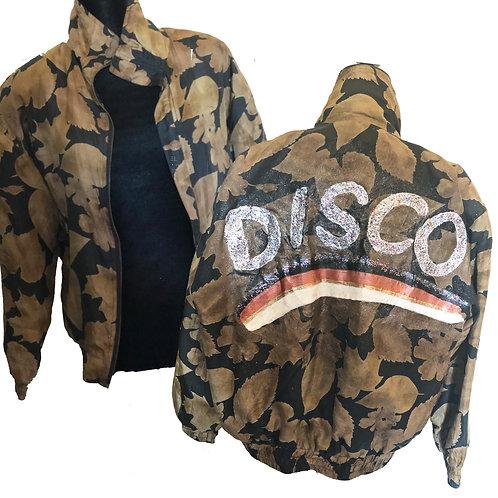 100% silk vintage handpainted glitter DISCO festival jacket UNISEX