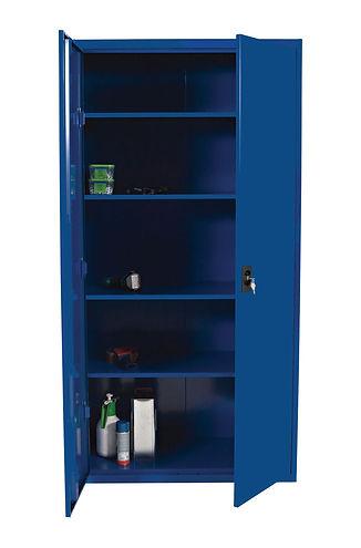 låsbart oppbevaringsskap i blå eller grå farge, 2000x1000x500mm