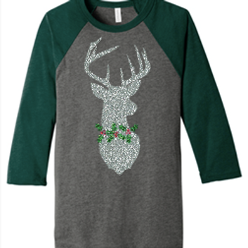 Holly Stag 3/4 Sleeve Glitter Logo