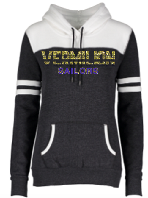 Ladies Colorblock Hoodie with Glitter Logo