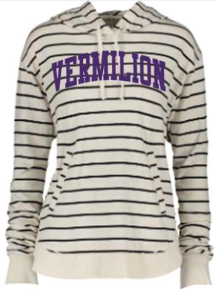 Ladies Stripe French Terry Hoodie