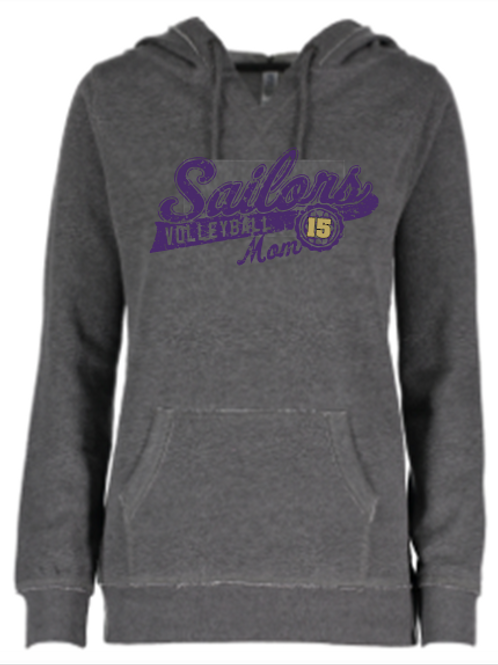 Ladies Garment Washed Hoodie Distressed Logo