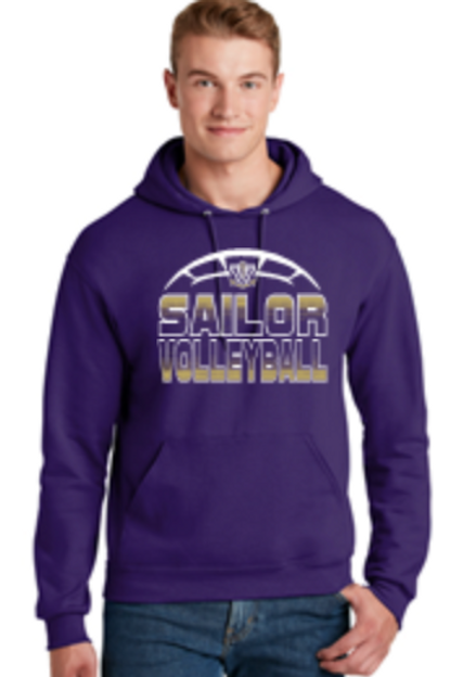 Purple Volleyball Basic Fleece Crew or Hoodie  Unisex or Youth Sailor 41996