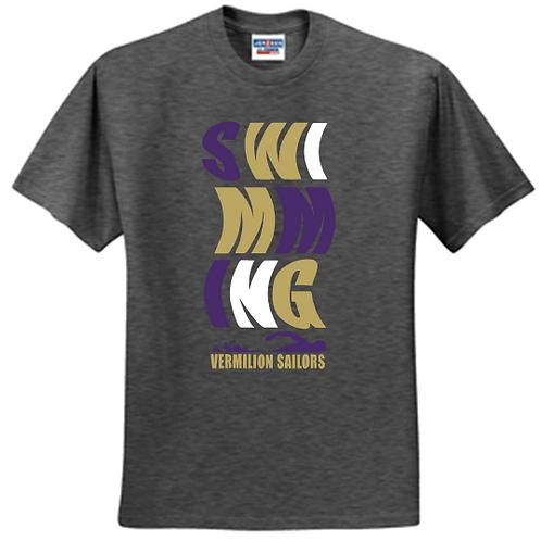 Unisex Short Sleeve Swim T Shirt Wave Logo