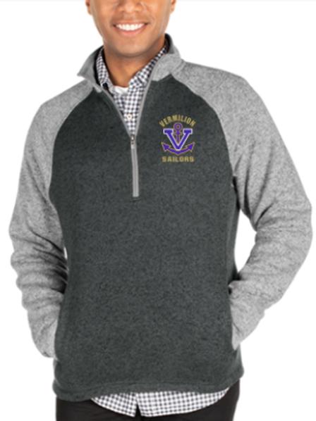 Mens Colorblock Sweater Fleece 1/4 Zip