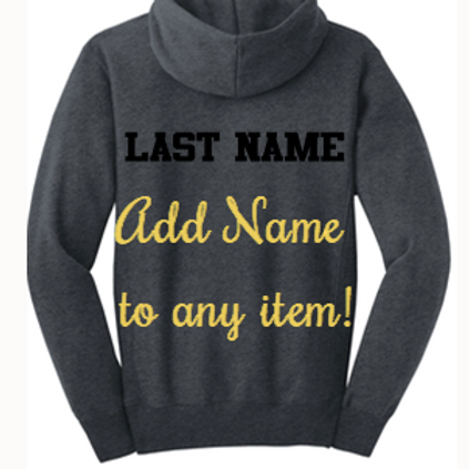 Add Name to Back of Any Item (price per item)