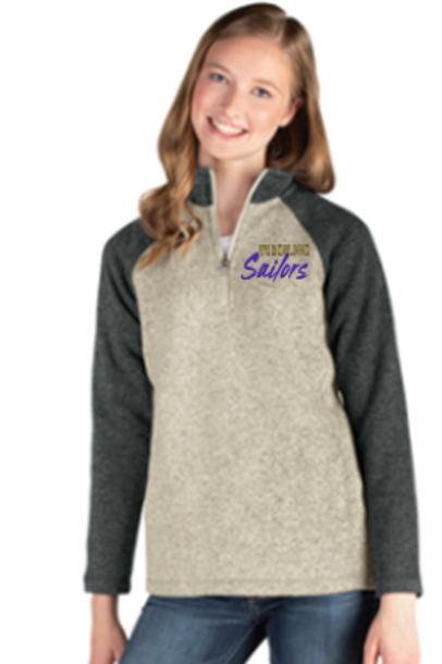 Ladies Colorblock.Sweater Fleece 1/4 Zip